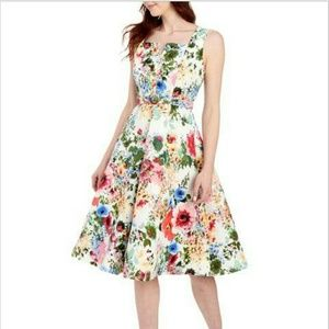 GABBY SKYE Floral Belted Fit & Flare Midi Dress